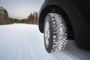 Good winter tires on snowy road